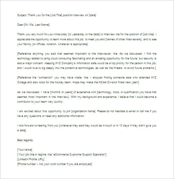 Thank You Letter For Interview – 8+ Free Sample, Example Format