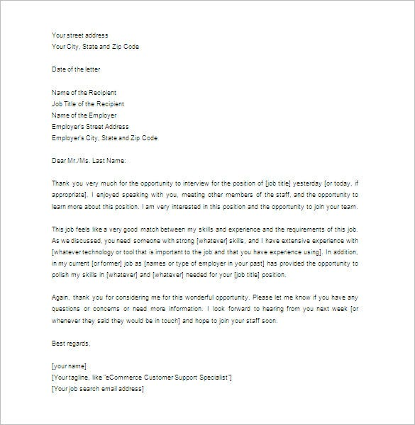 Thank You Letter For Interview 8 Free Sample Example Format – Interview Thank You Letter