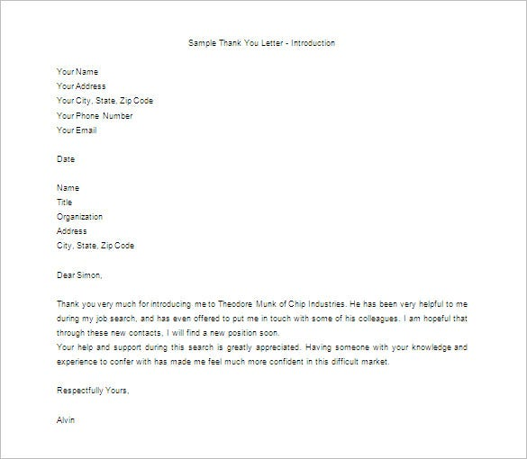 Thank You Letter For Appreciation 10 Free Sample Example – Thank You Letter for Appreciation