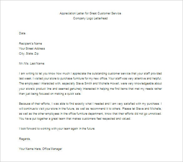 download appreciation letter for great customer service sample