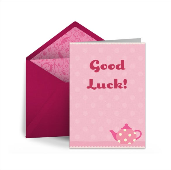 pink colour good luck card template