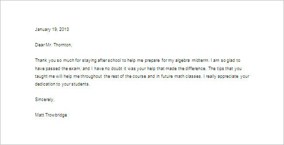 Thank You Letter To Teacher   Free Sample Example Format