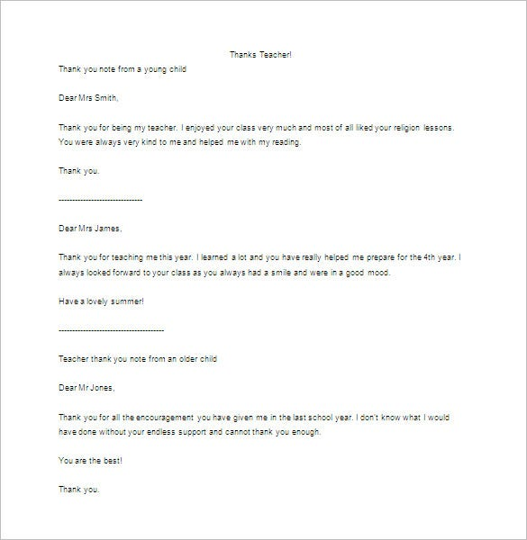 Thank You Letter To Teacher 10 Free Sample Example Format – Thank You Letter for Appreciation