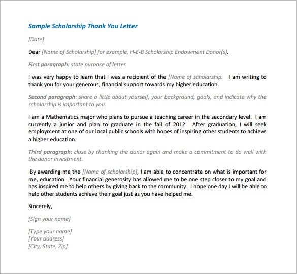 Scholarship Thank You Letter 10 Free Sample Example Format – Thank You Letter for Scholarships