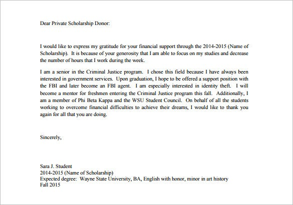 Scholarship Thank You Letter   Free Sample Example Format