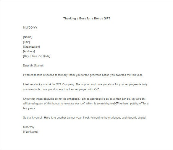 Thank you letter for gift 11 free sample example format download sample thank you letter for gift from boss expocarfo