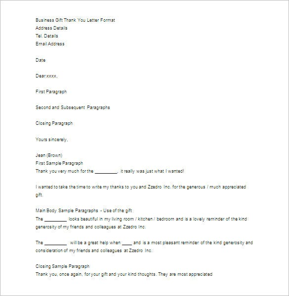 sample business gift thank you letter format download