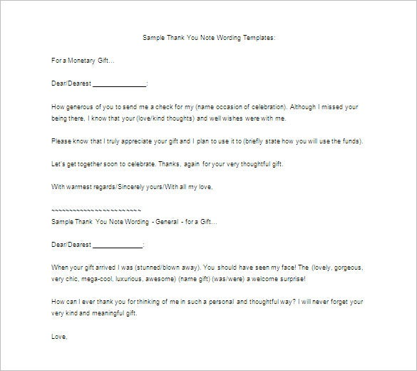 sample thank you letter for gift free download