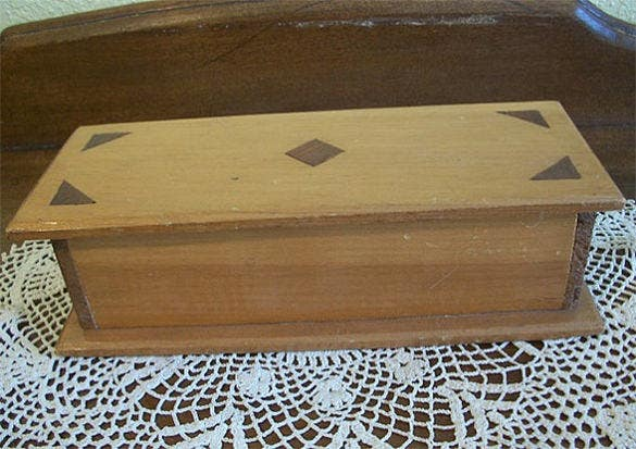 vintage rectangle shaped inlay wood box lined