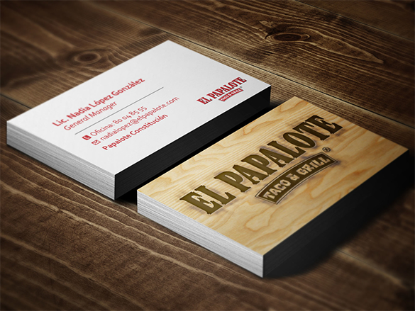 taco grill wooden business card