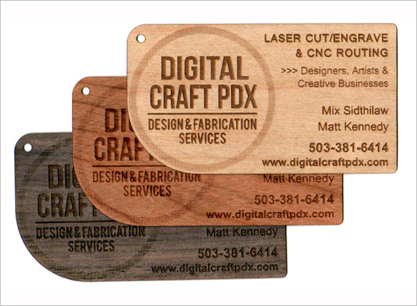 laser engraved real woodden business card
