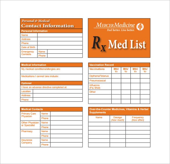 8 medication card templates doc pdf free premium for Medical alert wallet card template