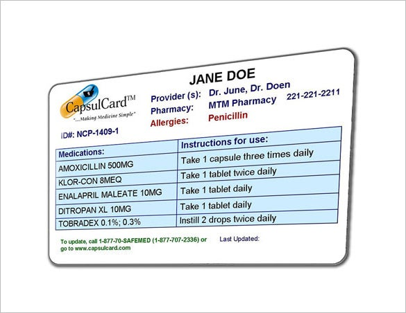 Medication card for wallet for Medical alert wallet card template