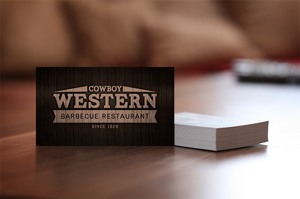 western wooden business card premium download