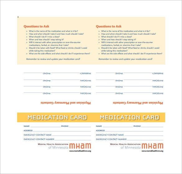 medical card template example