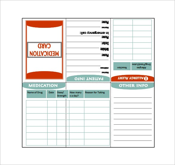 medication card template sample