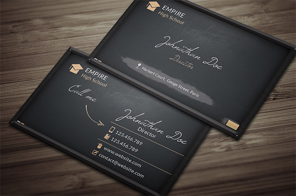 32 black business cards free printable psd eps word for Business card template black
