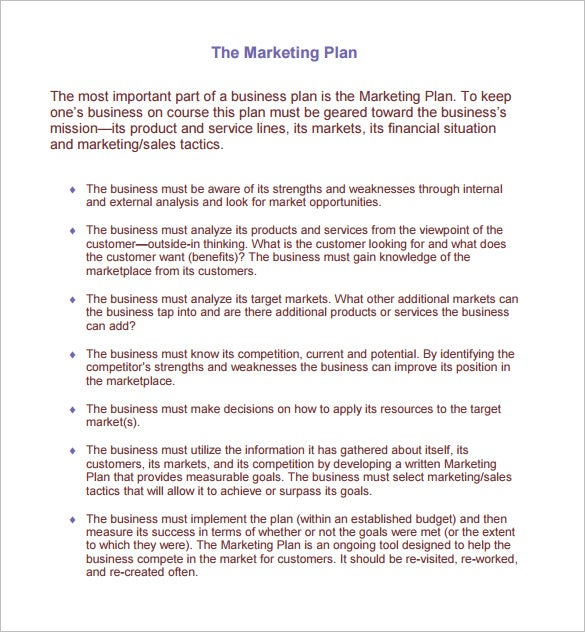 Marketing Plan Template   Free Word Excel Pdf Format