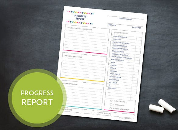 beautiful progress report card template