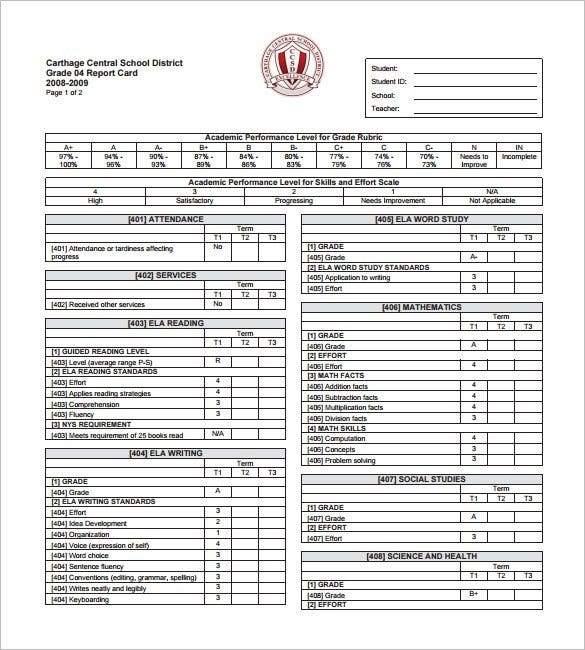 12 progress report card templates doc pdf free for Homeschool id template