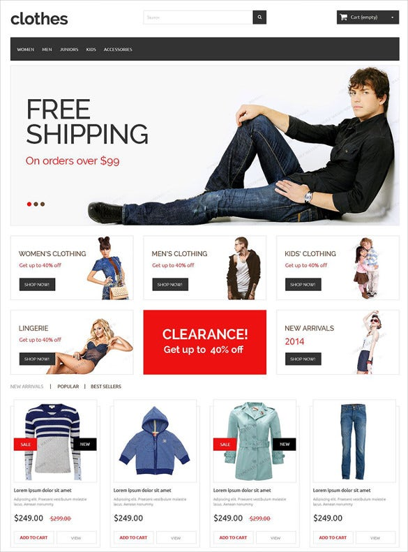 free clothes store prestashop theme