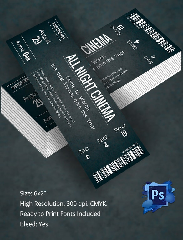 Ticket template 91 free word excel pdf psd eps for Editable ticket template free