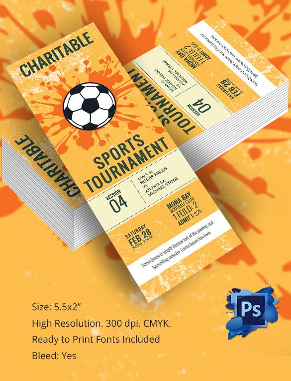 Foot Ball Tournament Ticket Template