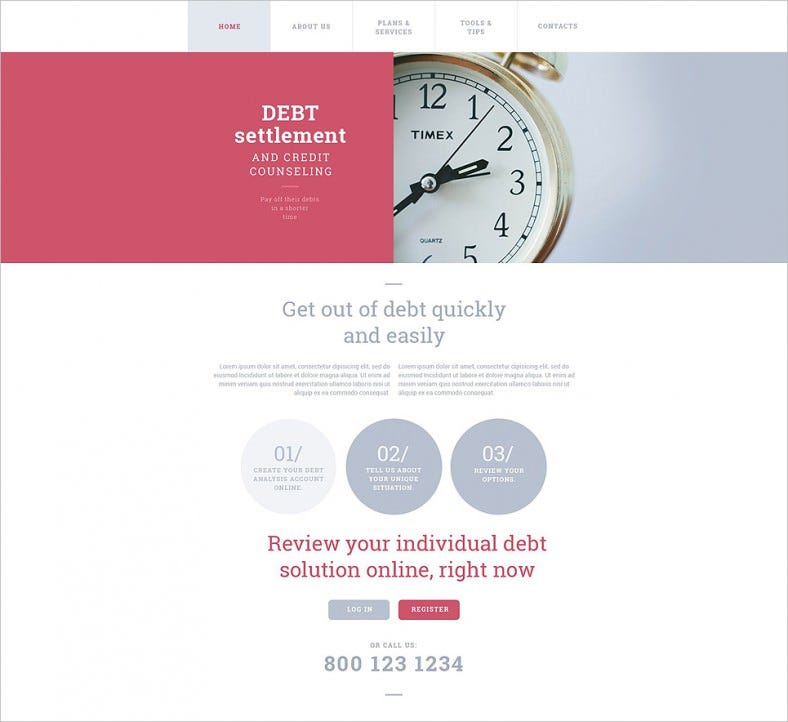 debt settlement website template 788x722