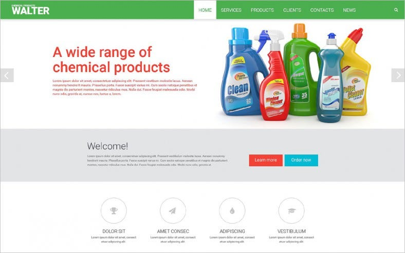 chemical products website template 788x493