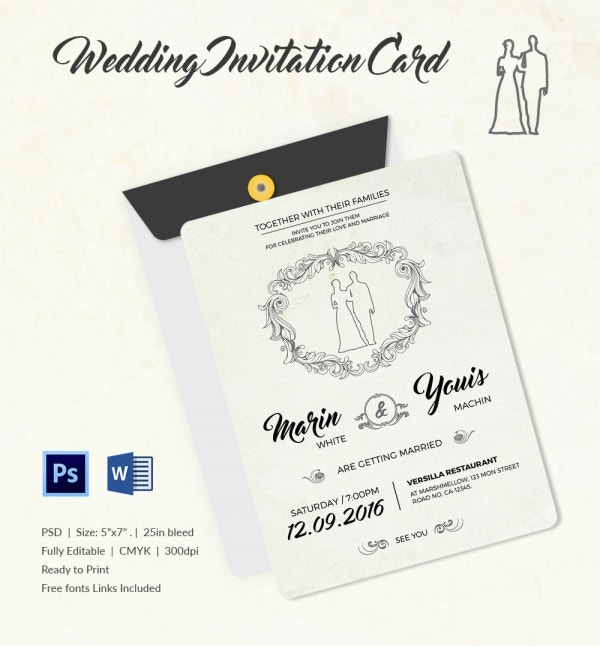 Modern Wedding Invitation Template PSD Download
