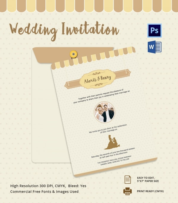Western Style Wedding Invitation Card Template PSD Design