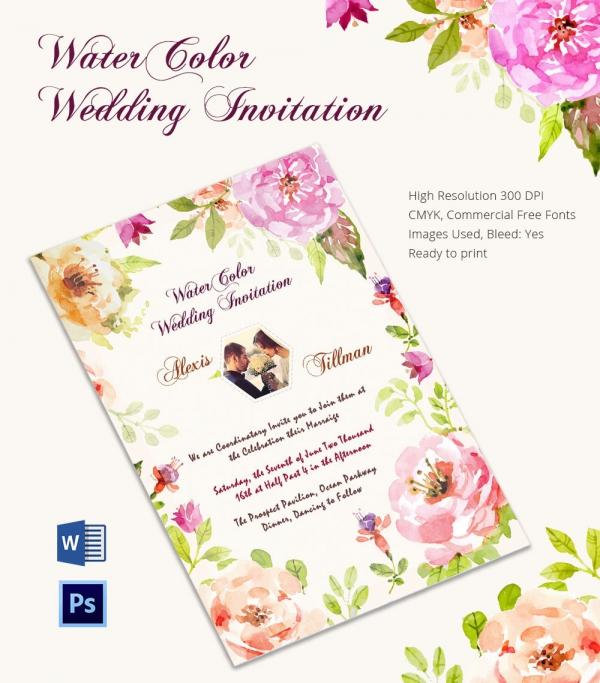 Creative Water Color Wedding Invitation Card Template