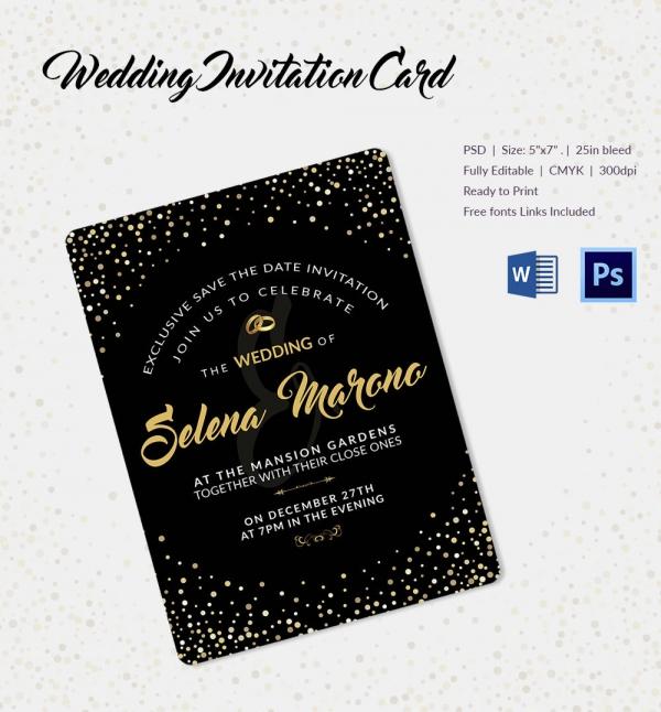 Golden and Black Wedding Invitation Template