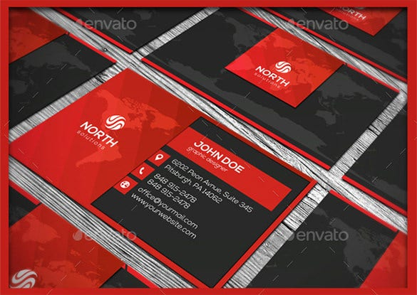 photoshop psd premium red business card