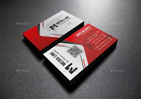 red modern business card premium download