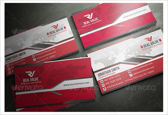 corporate red business card premium download