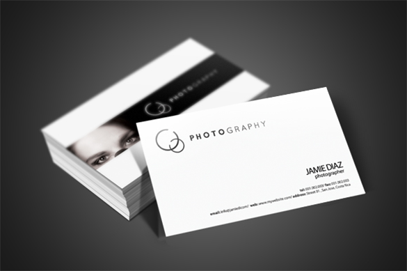 photographer white business card premium download