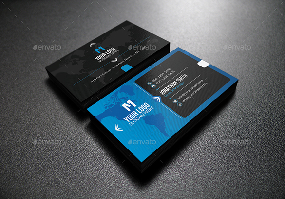 abstract modern blue business card for premium