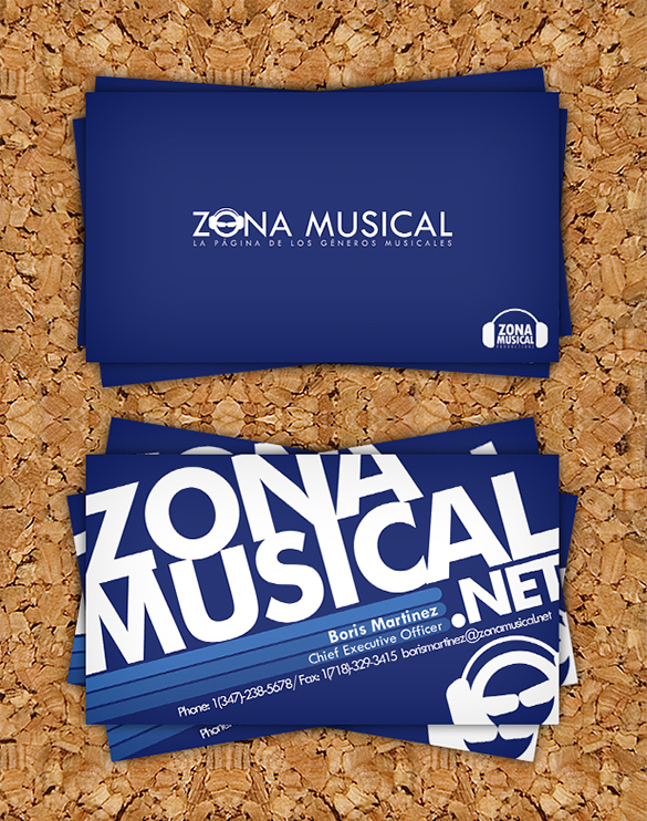 best free musical blue business card