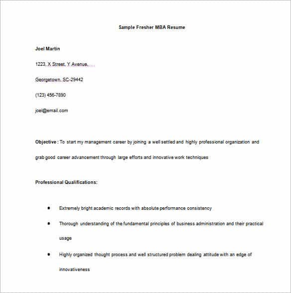 fresher resume for mba word free download