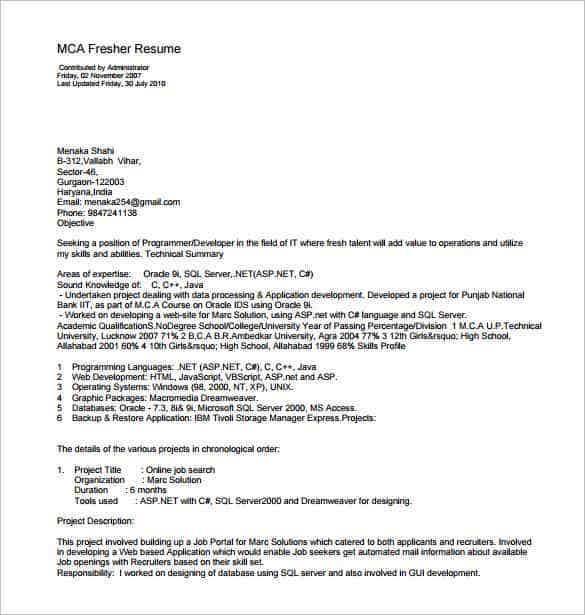 MCA Resume Template for Fresher PDF Download