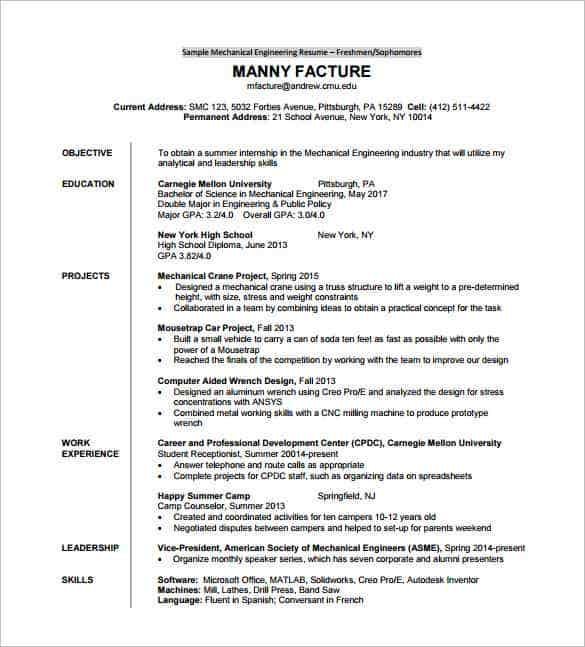College Mechanical Engineering Sample Resume Cover Letter Scenic – Engineering CV Template