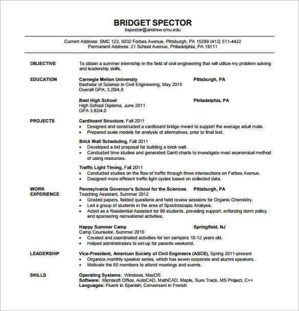 civil engineer fresher resume pdf template - Sample Resumes For Btech Freshers Pdf
