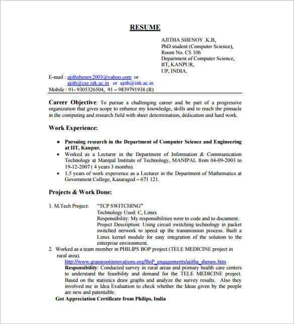 engineer resume template fresher min word doc free