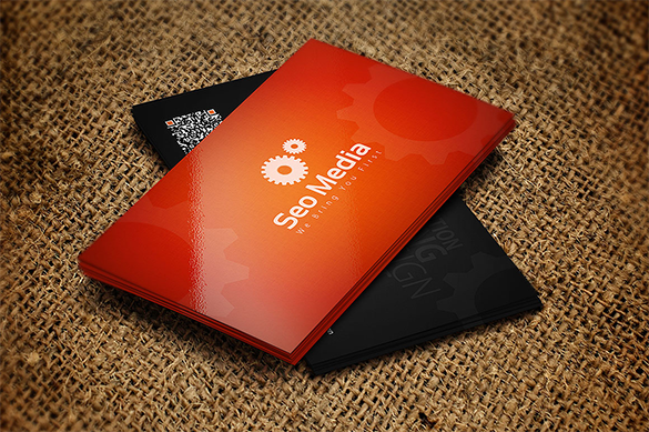 abstract premium orange business card