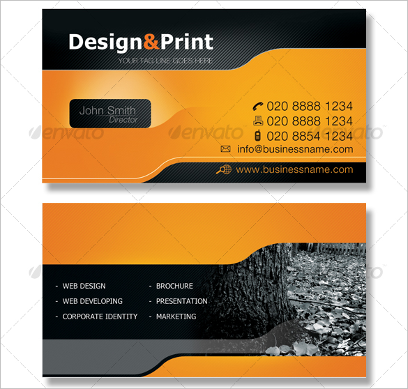 premium orange business card for director
