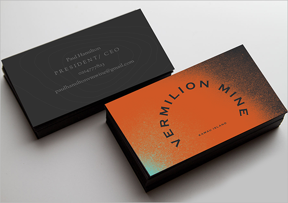 dynamic orange business card for ceo