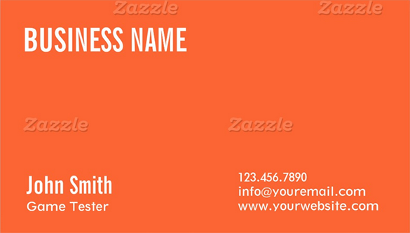 game tester orange business card download