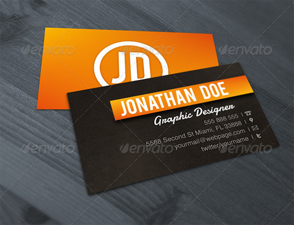 premium graphic designer orange business card