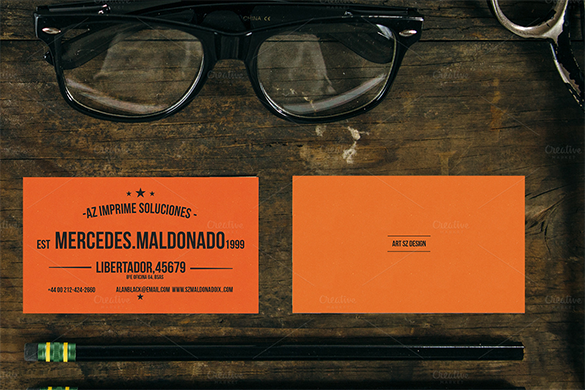 premium librarian orange business card for you